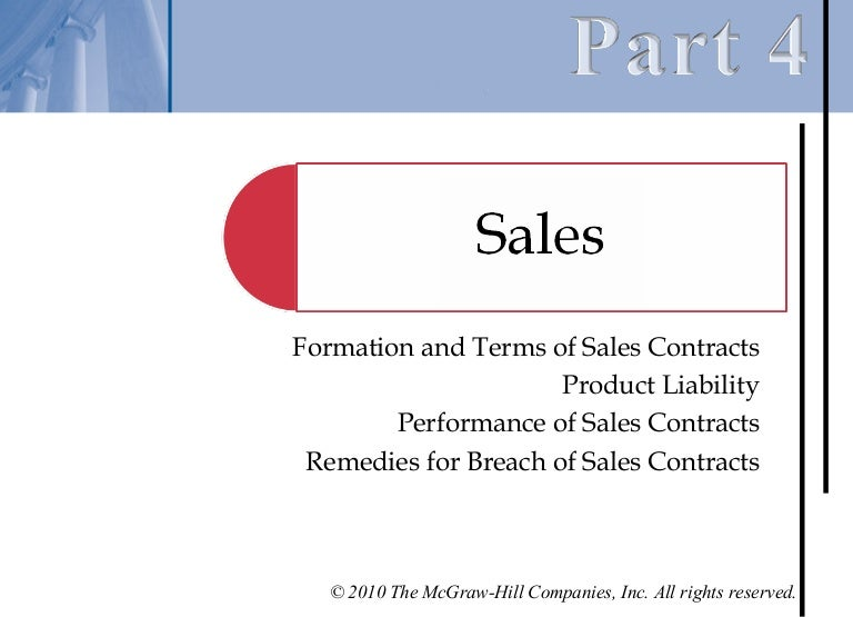 Chapter   Performance Of Sales Contracts