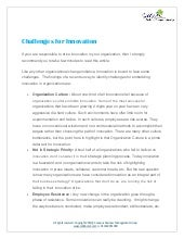 Challenges for innovation