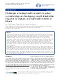 Challenges in linking health research to policy  a commentary on developing a multi stakeholder response or ovc in ghana