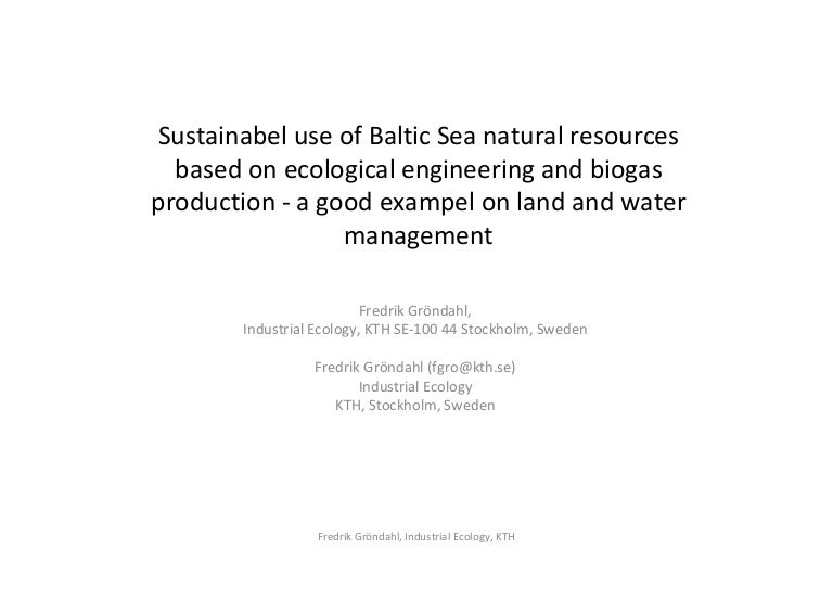 Sustainable use of Baltic Sea natural resources based on ecological e…