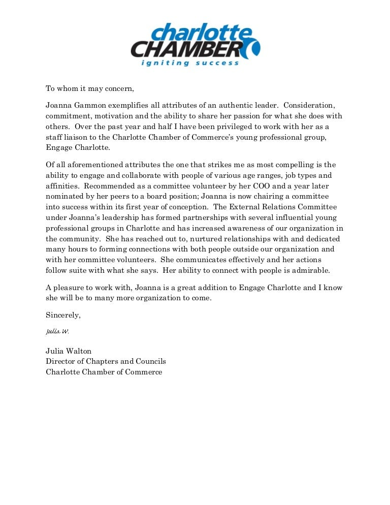 chamber reference letter