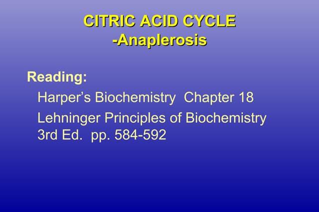 Citric Acid Cycle-Anaplerosis