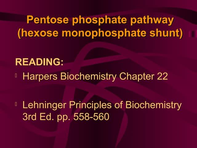 Pentose Phosphate Pathway (Hexose Monophosphate Shunt)