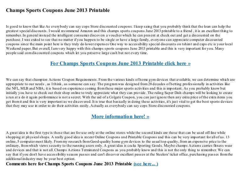 Champs Sports Coupons June 2013 Printable