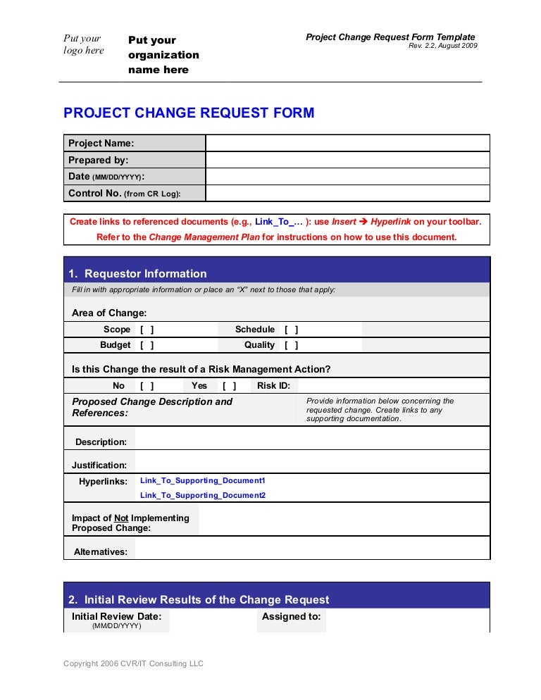 Change Request FormTemplate