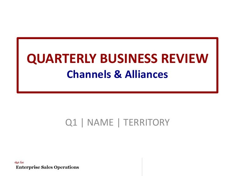 Channel  Alliances Quarterly Business Review Template