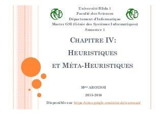 Chapitre 4 heuristiques et méta heuristiques