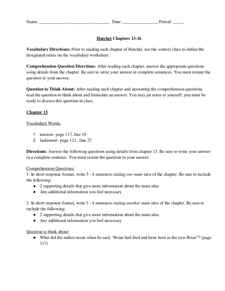 Chapter 13 16 vocab and question 2013 – Restating the Question Worksheets