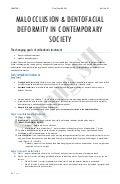 MALOCCLUSION & DENTOFACIAL DEFORMITY IN CONTEMPORARY SOCIETY
