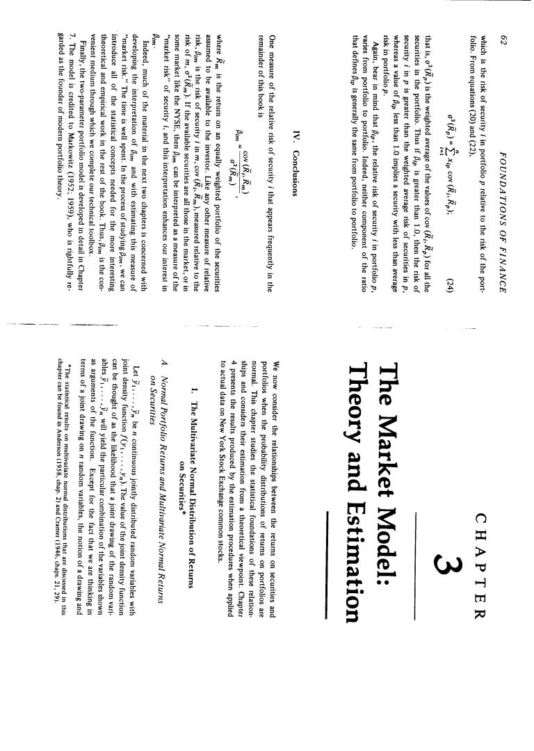 foundations of finance by fama 1976 Chapter 3 the market