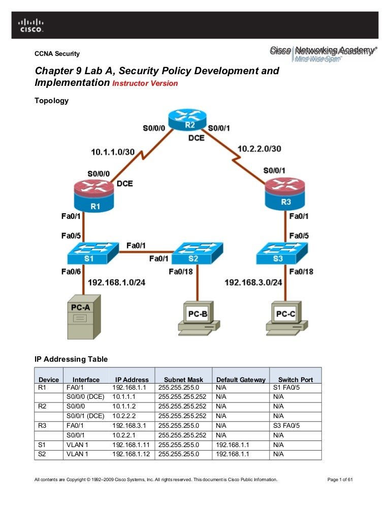 chapter 9 lab a security policy development and implementation instr rh slideshare net CCNA Simulator Software CCNA Lab Logo