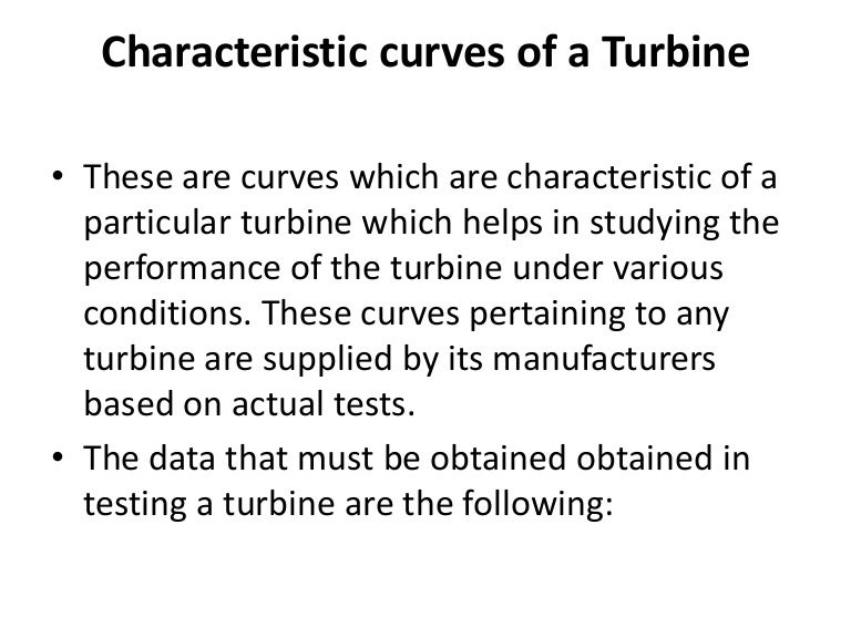Characteristic curves of a turbine