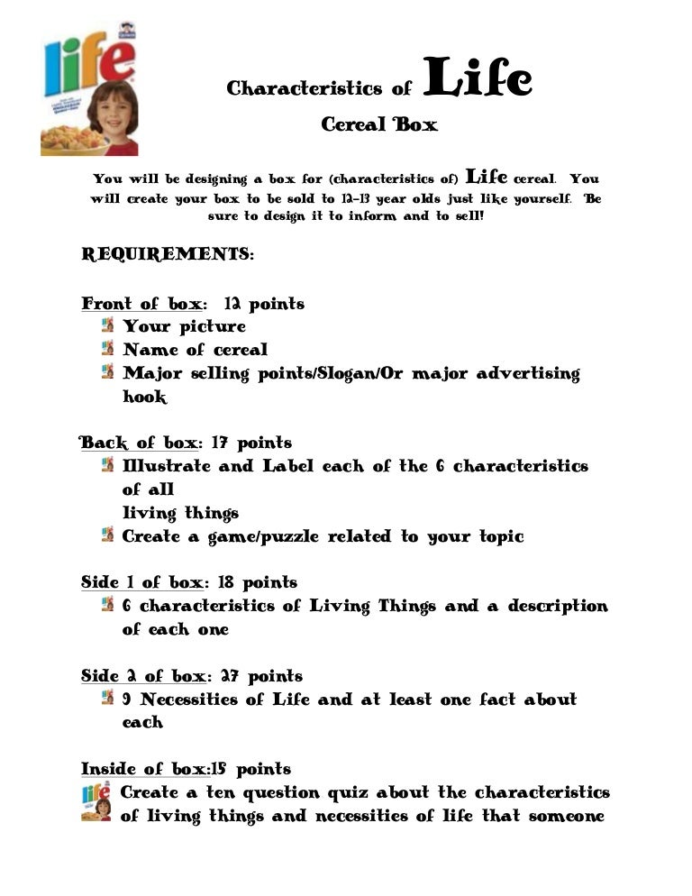 Characteristics of-life-cereal-box