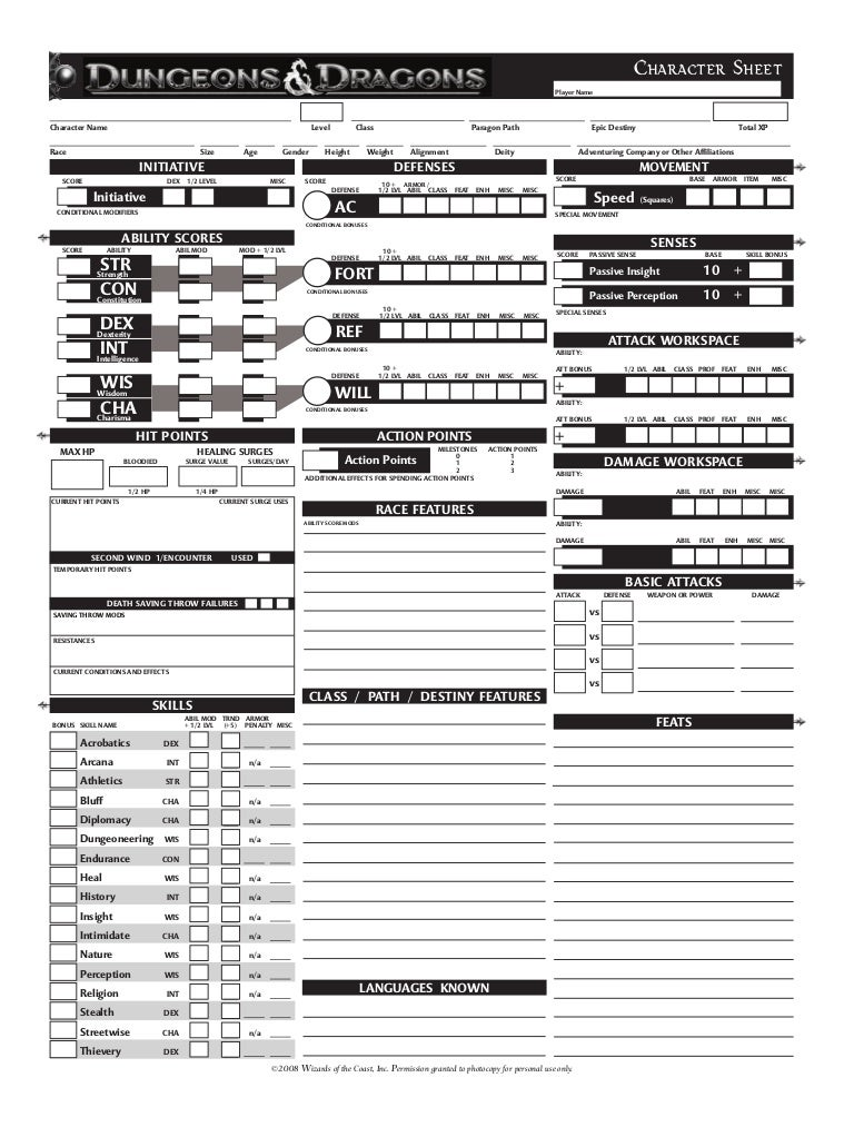 photograph about Dungeons and Dragons Printable Character Sheet known as By means of Photograph Congress Dd 3.5 Personality Sheet Print