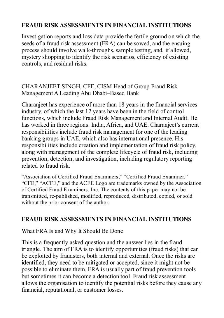Fraud Risk Assessment Notes