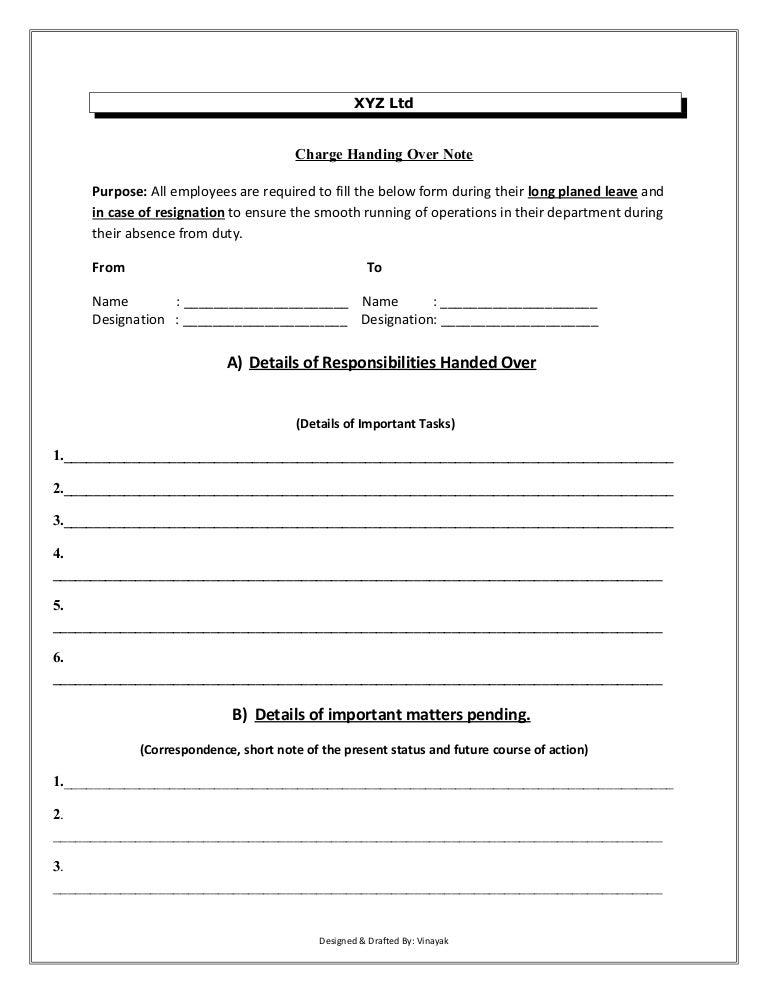 Handover Report Sample Cover Letter Responsibilities Handover Sample Letter Format