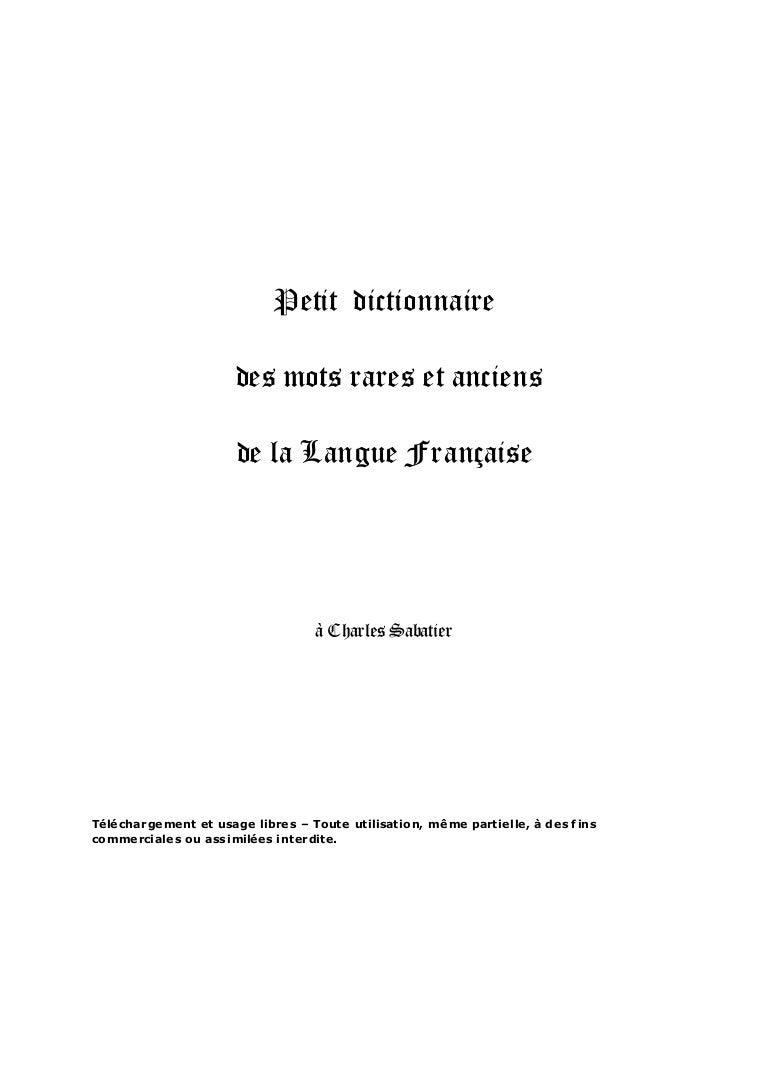 Sabatier Et Anciens La Charles Des … Mots De Petit Dictionnaire Rares IY76yvbfg