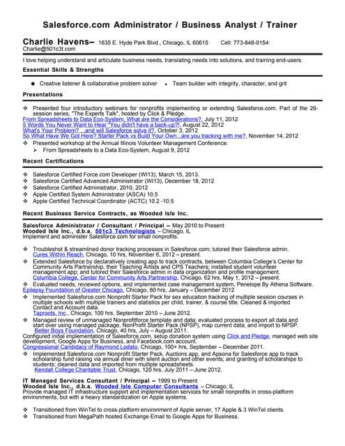 Charlie Havens Salesforce.com Advanced Administrator and Force.com De…