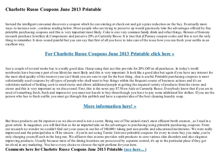 graphic about Charlotte Russe Printable Coupon referred to as Charlotte russe discount codes june 2013 printable