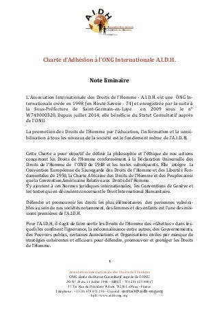 Charte d'adhésion de l'A.I.D.H.
