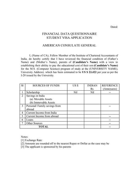 CA Statement for f1 visa sample