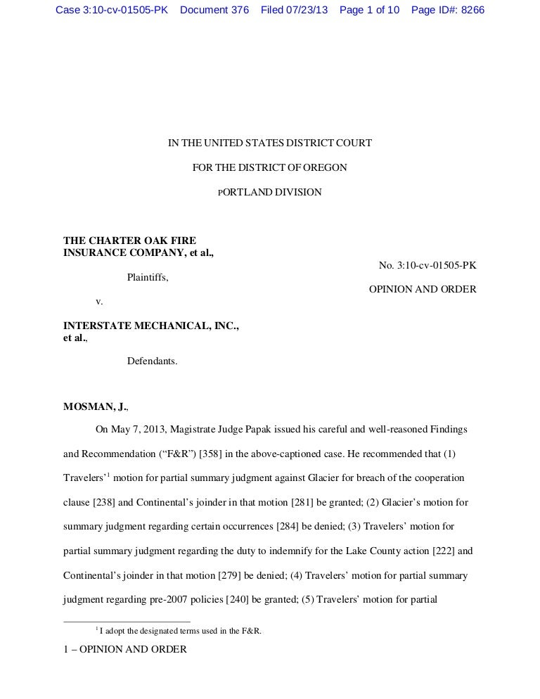 Charter oak v. interstate mechanical usdc oregon july 2013 mosman pap…