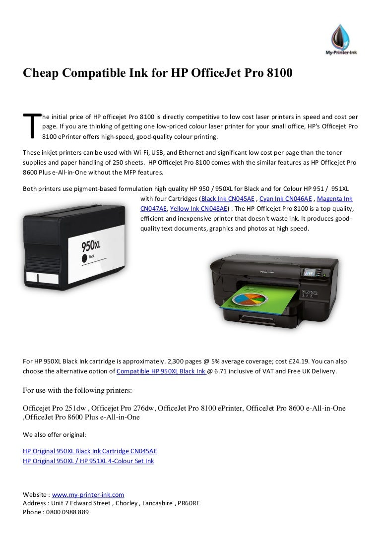 Cheap Compatible Ink For Hp Office Jet Pro 8100