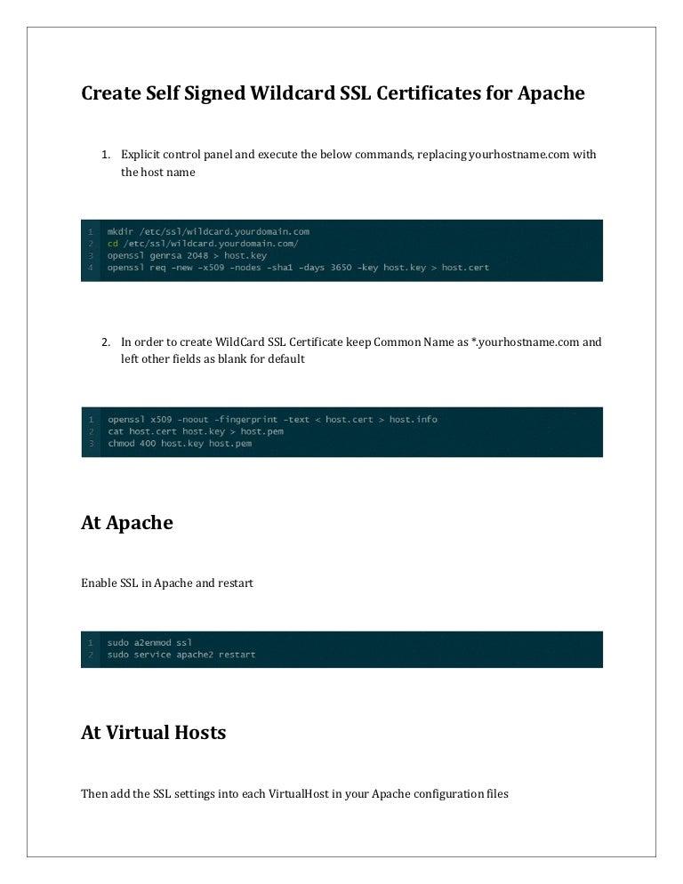 Create Self Signed Wildcard Ssl For Apache Web Server Rapidsslonline