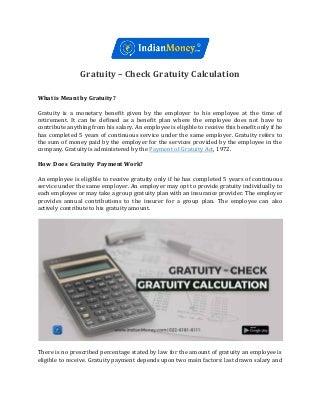 Gratuity - Check Gratuity Calculation