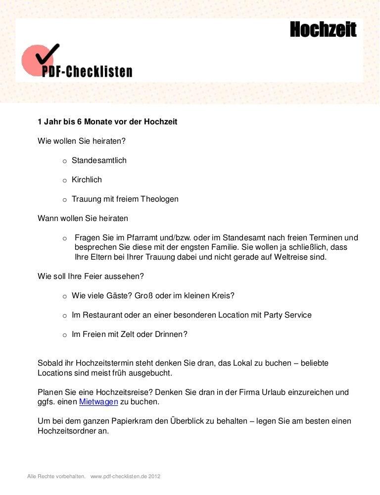 Checkliste Dokumente Fur Die Standesamtliche Trauung