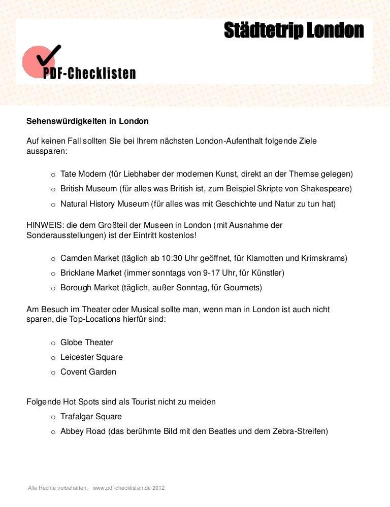 Checkliste Städtetrip London