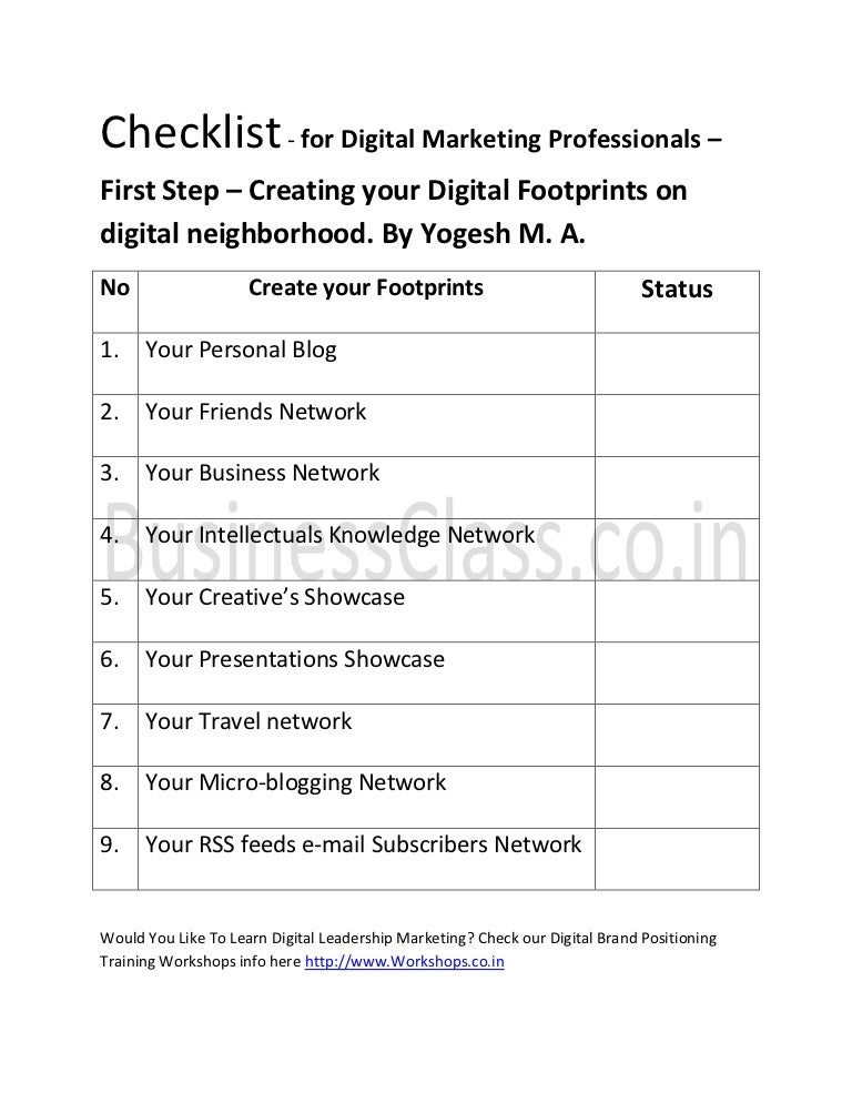 Checklist For Digital Marketing Professionals - First Step - Creating…
