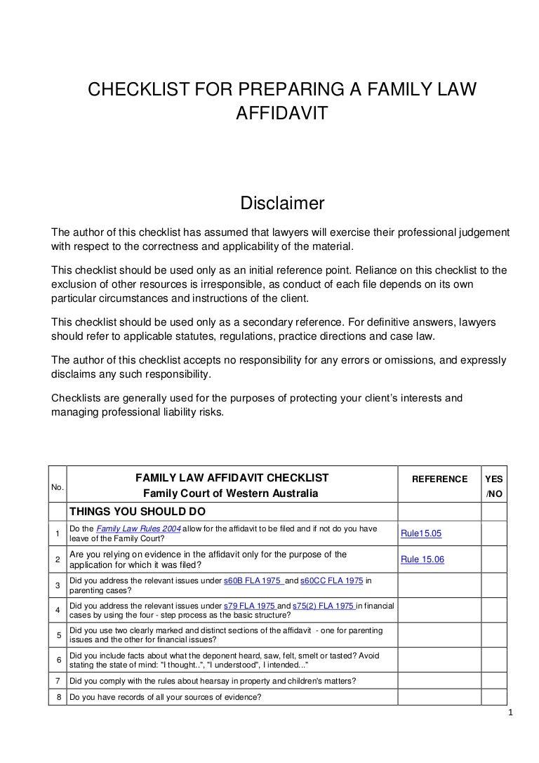 checklist for preparing a family court affidavit