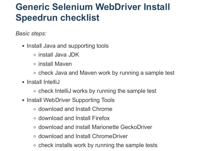 Checklist How to Install Firefox GeckoDriver and