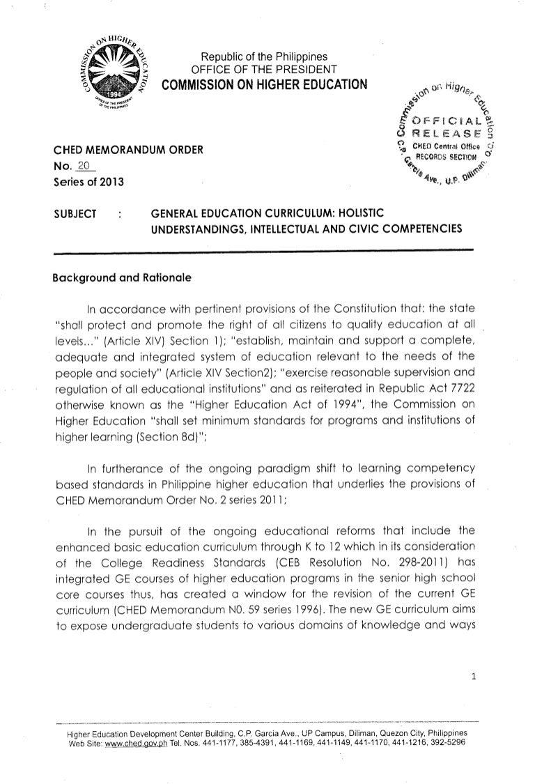 CHEd Memorandum Order No  20 s2013 - General Education Curriculum