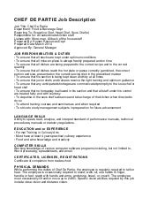 Printable Chef De Partie Resume Sample Eager World Oyulaw