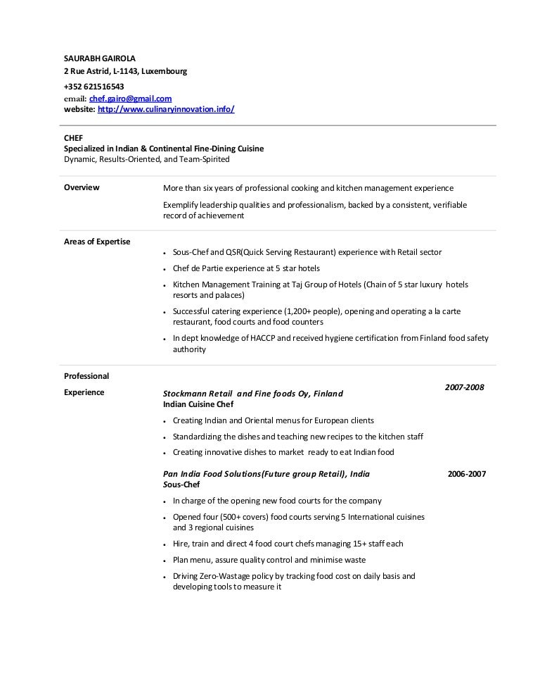 Resume Format For Chef De Partie. Resume. Ixiplay Free Resume Samples
