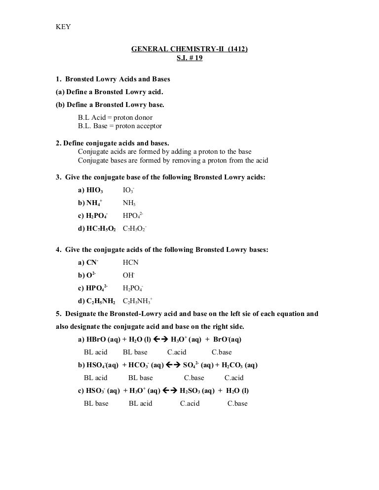 Conjugate Acid Base Pairs Chem Worksheet 19 2: 19 Key,