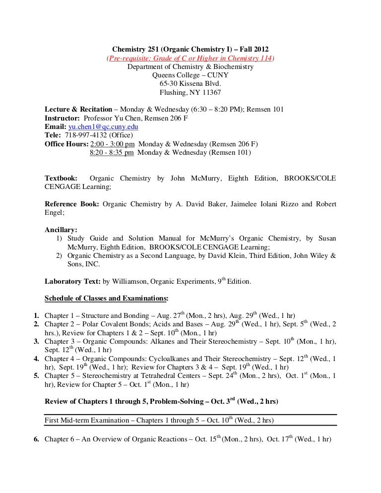 Chem 251 organic chem queens college chemistry 251 syllabus 2012 publicscrutiny Gallery