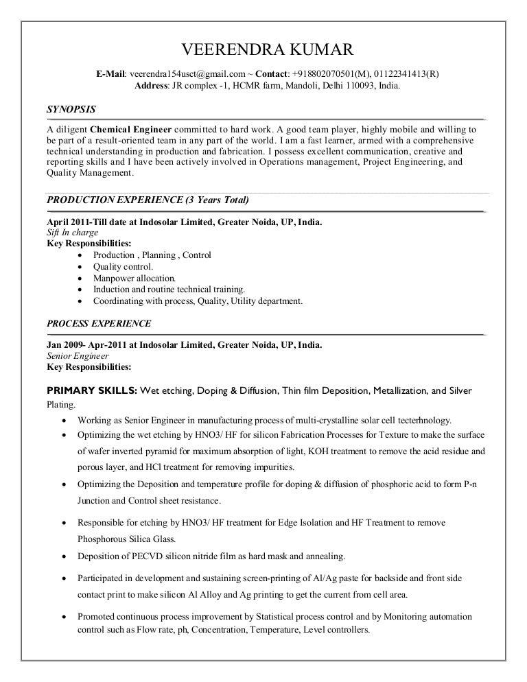 Chemical Resume