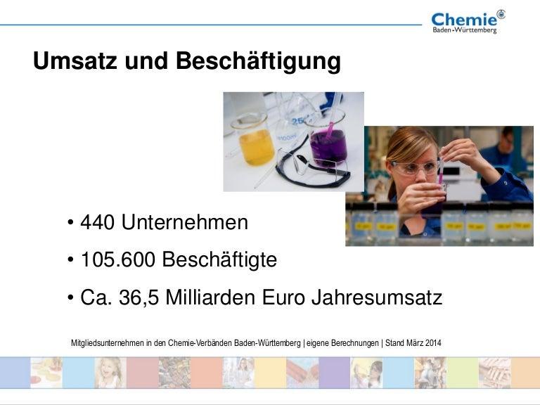Strukturdaten 2014 der chemischen Industrie in Baden-Württemberg
