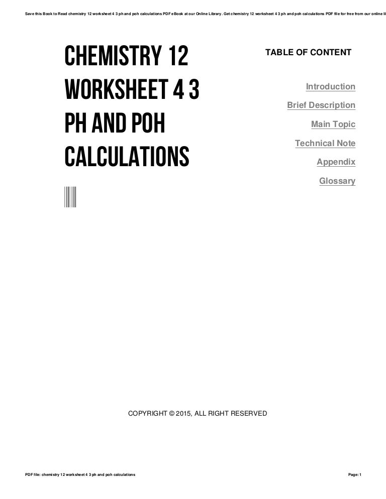 Chemistry 12 worksheet 4 3 ph and poh calculations