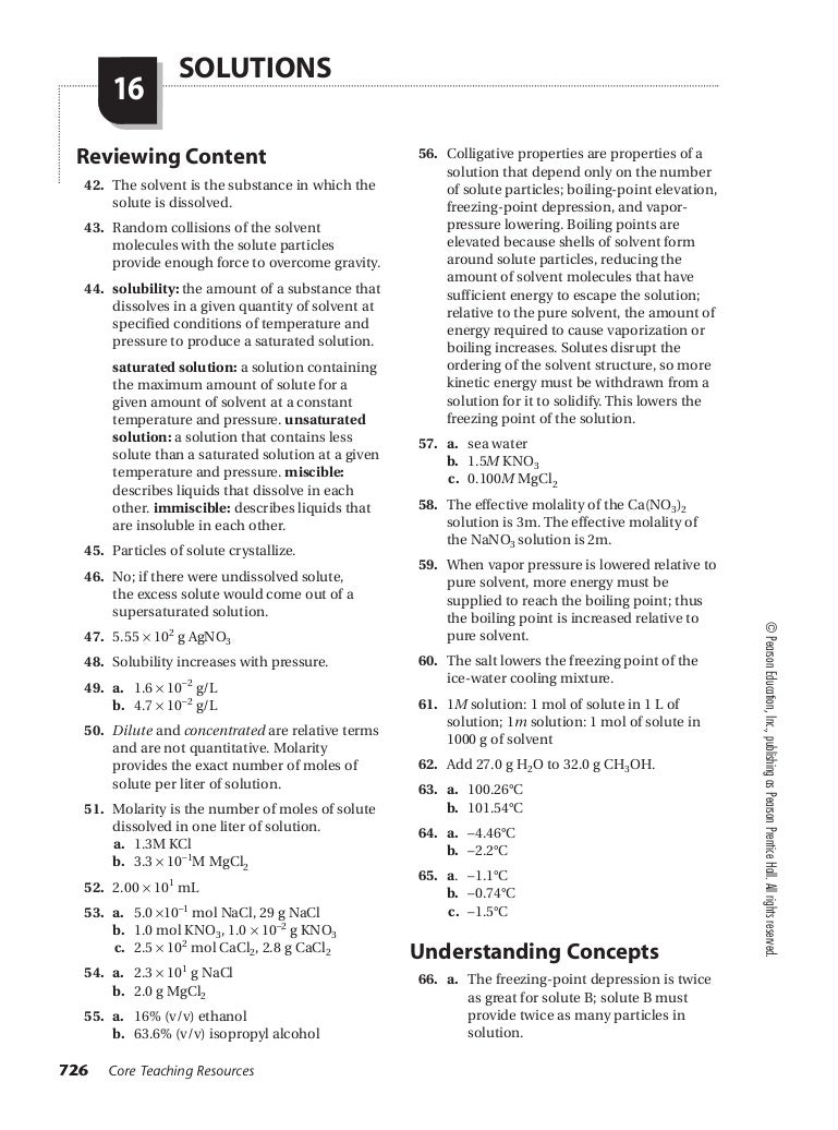 Worksheets Pearson Chemistry Worksheet Answers chemistry chapter 16 assessment small