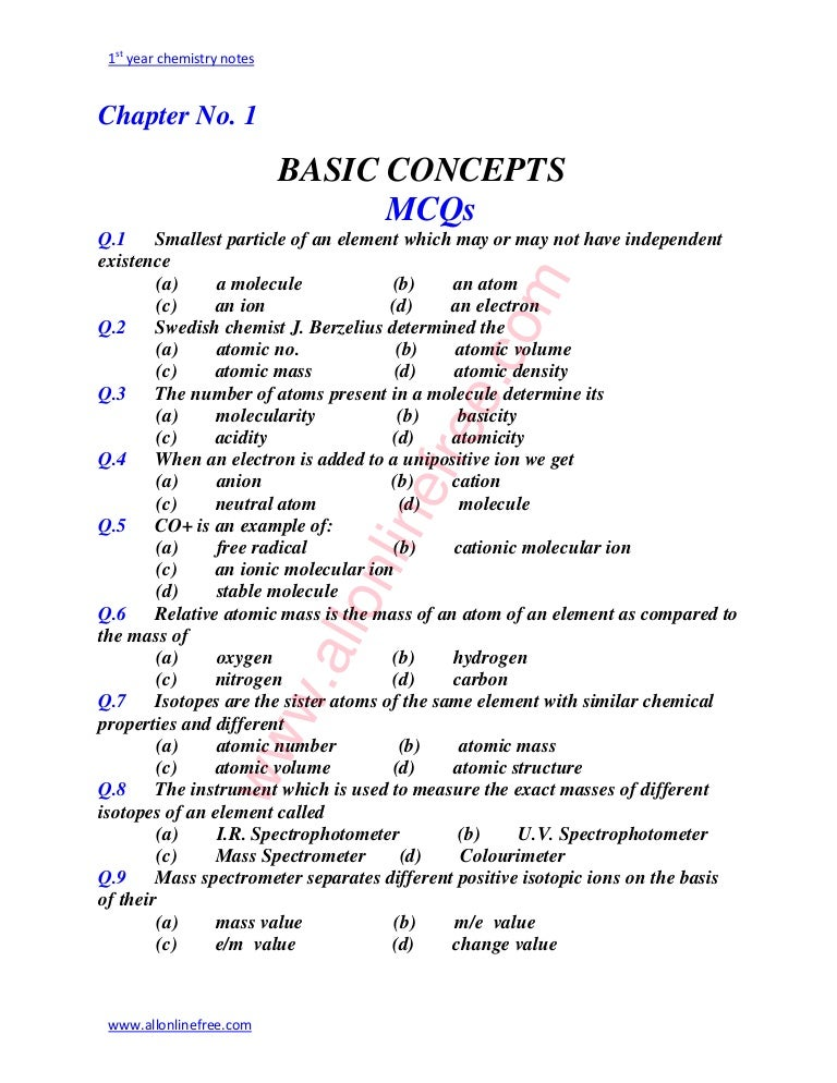 Chemistry fsc part 1 all chapter mcqs fandeluxe Choice Image