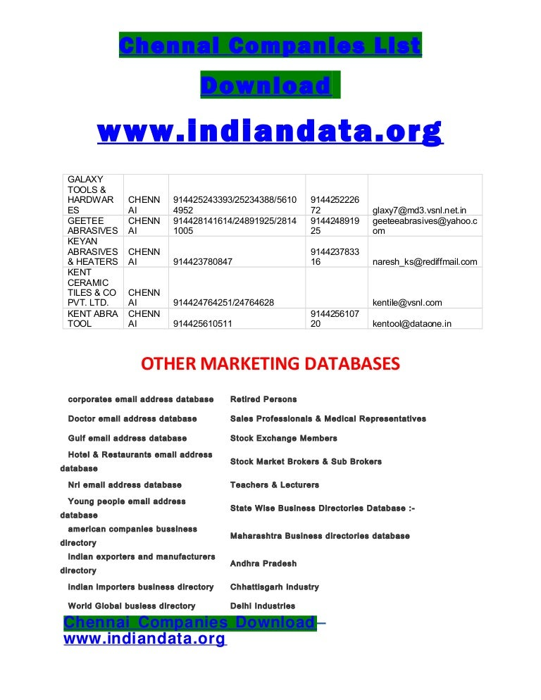 Chennai Companies List Download