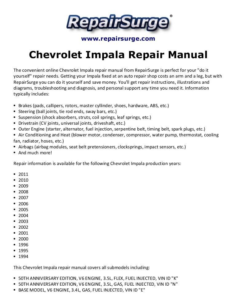 Chevrolet Impala Repair Manual 1994-2011Slideshare
