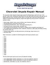 chevrolet impala 2006 2010 factory service repair manual rh slideshare net 2005 chevy impala service manual 2005 chevy impala service manual