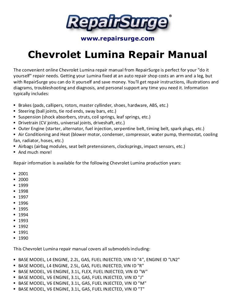 Chevrolet Lumina Repair Manual 1990-2001 | 98 Chevy Lumina Engine Diagram |  | SlideShare