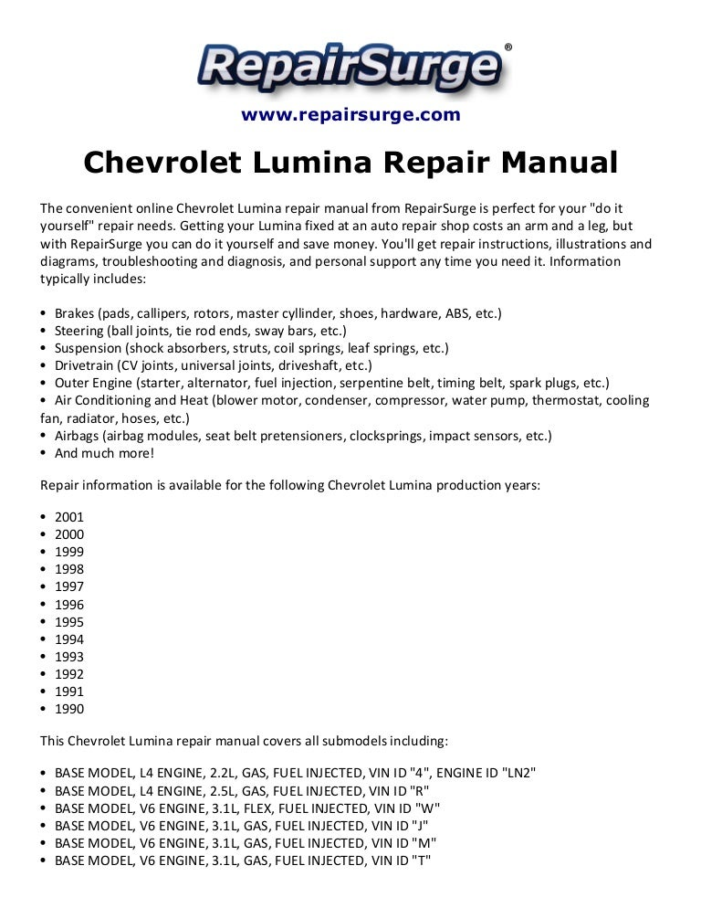 Chevrolet Lumina Repair Manual 1990 2001
