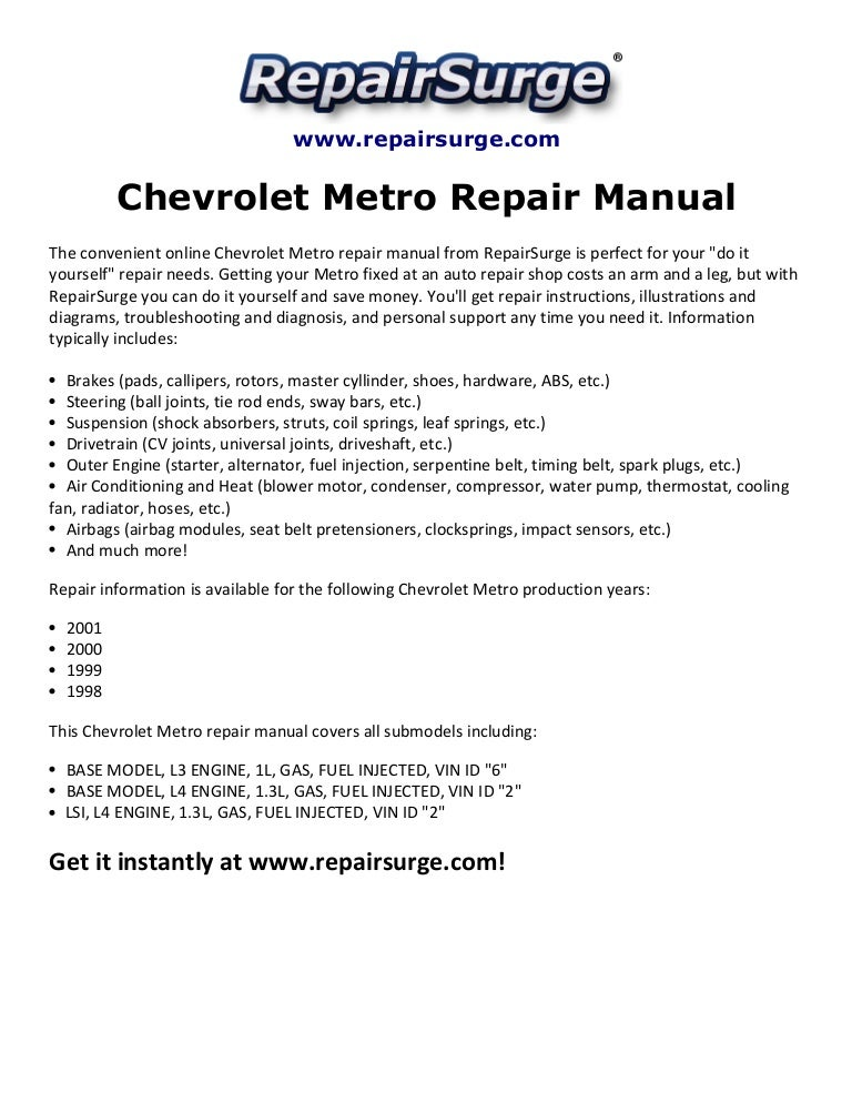 chevroletmetrorepairmanual1998 20011 141110140029 conversion gate01 thumbnail 4?cb=1415628068 chevrolet metro repair manual 1998 2001  at eliteediting.co